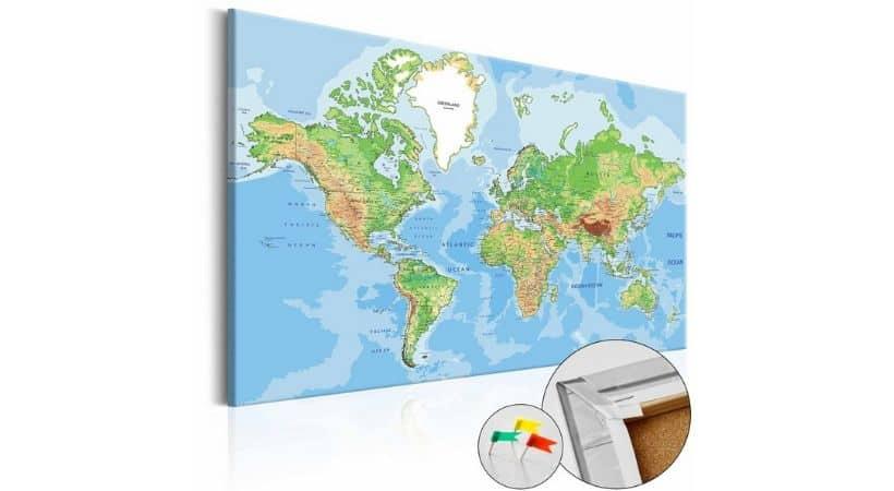 Opslagstavle - Verdenskort til væg med nåle