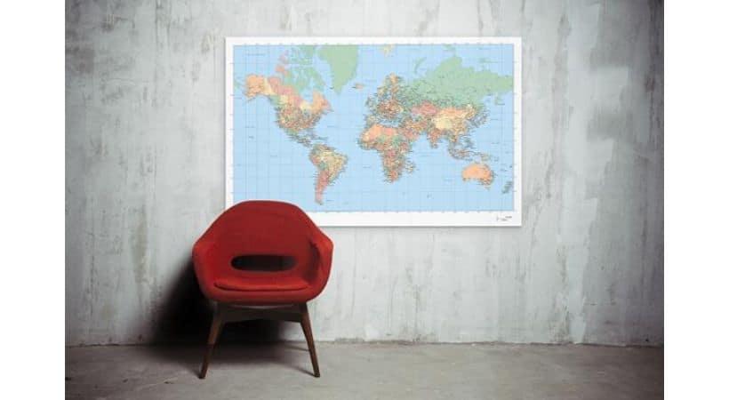 Verdenskort med navne - Plakat