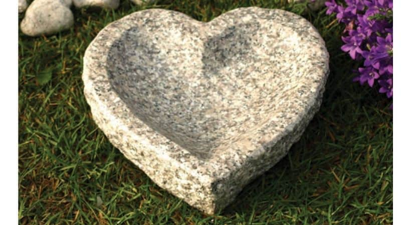 Hjerteformet fuglebad - Granit