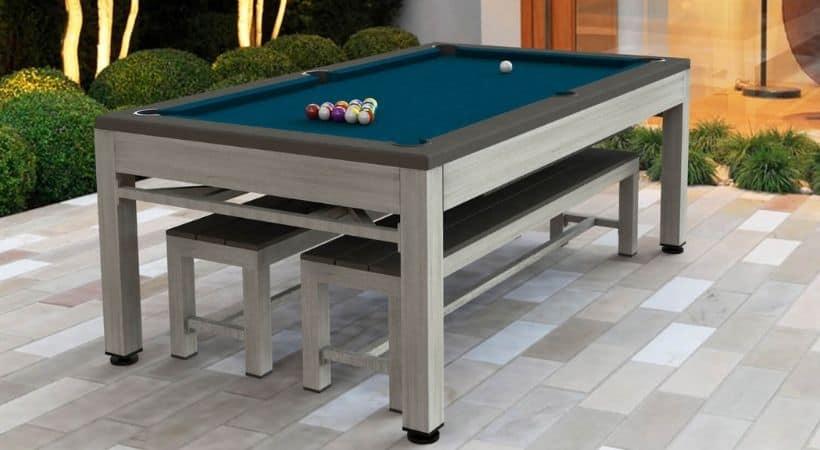 Udendørs poolbord m. bordtennis & havebordssæt