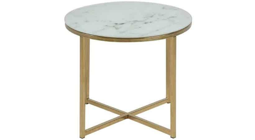 Hvidt hjørnebord i marmor