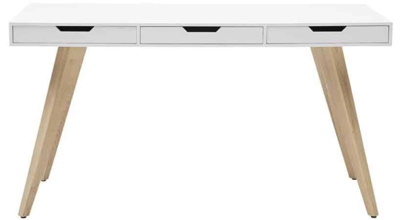 Hvidt skrivebord med skuffer - River