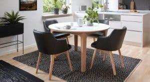 Rundt spisebord med tillaegsplader - Laminat