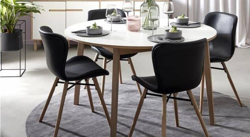 Rundt spisebord med udtræk - Hvidt