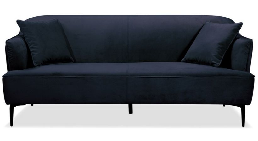Billig mørkeblå velour-sofa - Monica