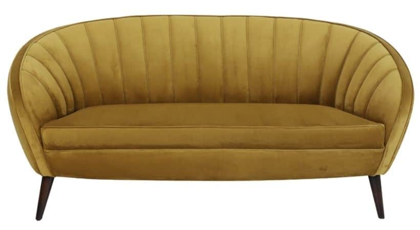 Gul velour-sofa - Light & Living