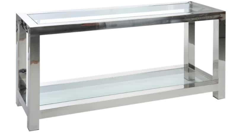 Konsolbord med glas & sølv-look