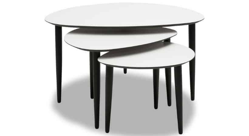 Sofabord-sæt i hvidt laminat - Flair
