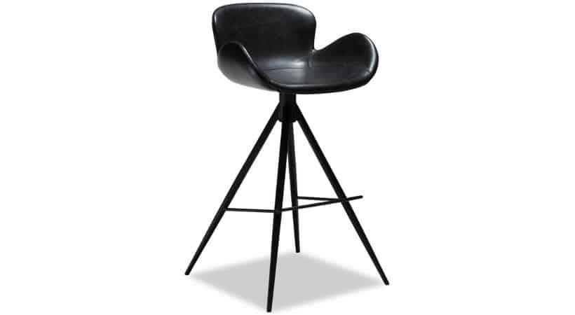 Sort retro-barstol i kunstlæder - Med armlæn