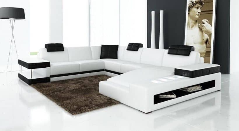 Stor u-sofa med chaiselong - hvid og sort