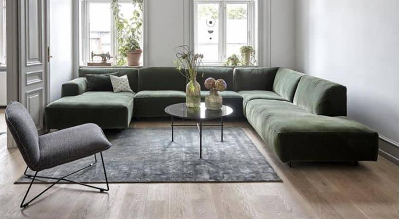 Velour sofa med chaiselong - Venstrevendt